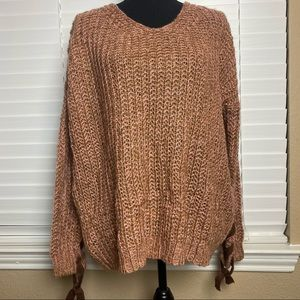 MY STORY Trendy Knit Pink/Brown Sweater Size: S
